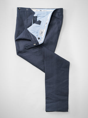 Dark blue pair of regular fit linen trousers
