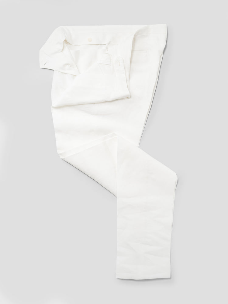 White pair of regular fit linen trousers