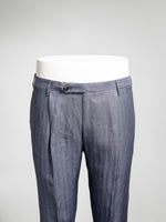 Medium blue herringbone pair of regular fit linen trousers