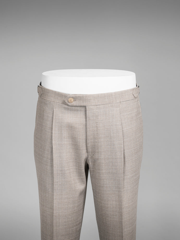 Beige pair of regular fit flamed effect wool trousers