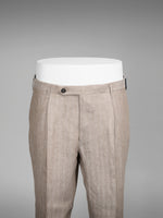 Beige herringbone pair of regular fit linen trousers