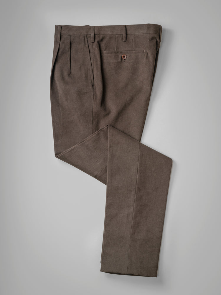 Dark brown pair of regular fit cotton trousers