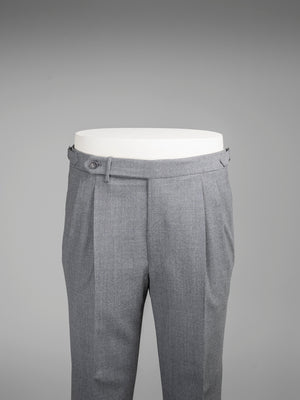 Light grey pair of regular fit fourply wool trousers