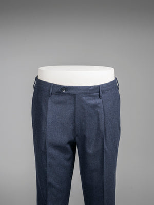 Dark blue pair of regular fit wool flannel trousers