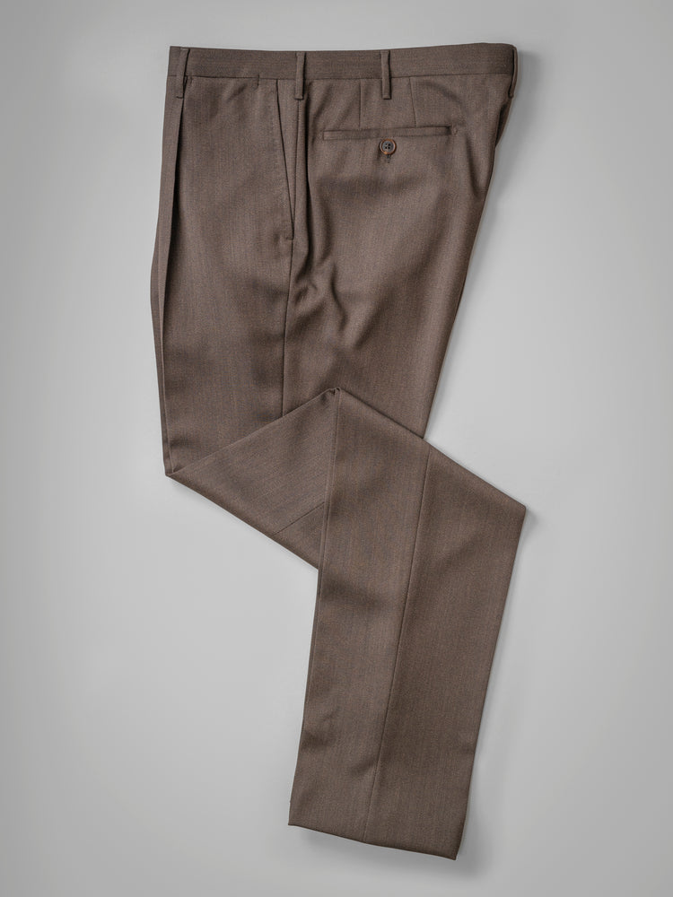 Brown pair of regular fit covert wool trousers