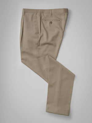 Light fawn pair of regular fit wool trousers