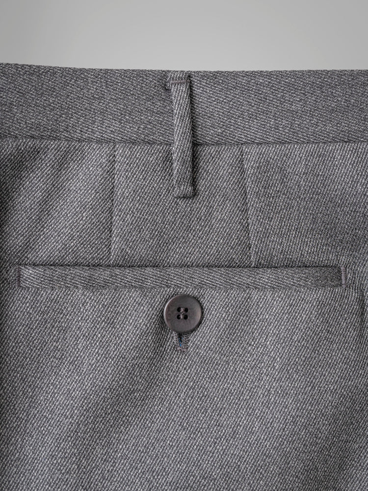 Dark grey pair of regular fit covert wool trousers