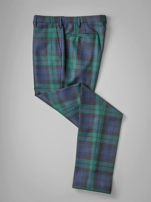 Black watch tartan pair of regular fit wool trousers