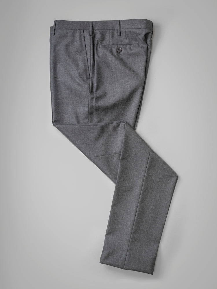 Grey pair of regular fit worsted wool trousers