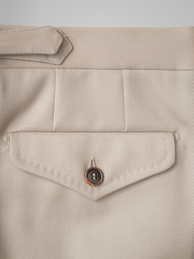 Light beige pair of regular fit cavalry twill wool trousers