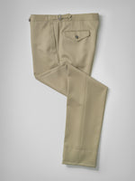 Dark beige pair of regular fit wool trousers
