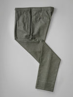 Dark green pair of regular fit wool flannel trousers