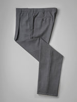 Dark grey pair of regular fit four ply wool trousers
