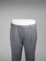 Grey pair of regular fit covert wool trousers