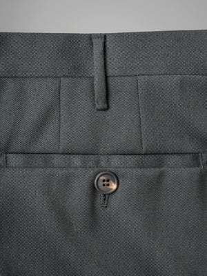 Dark green pair of regular fit covert wool trousers