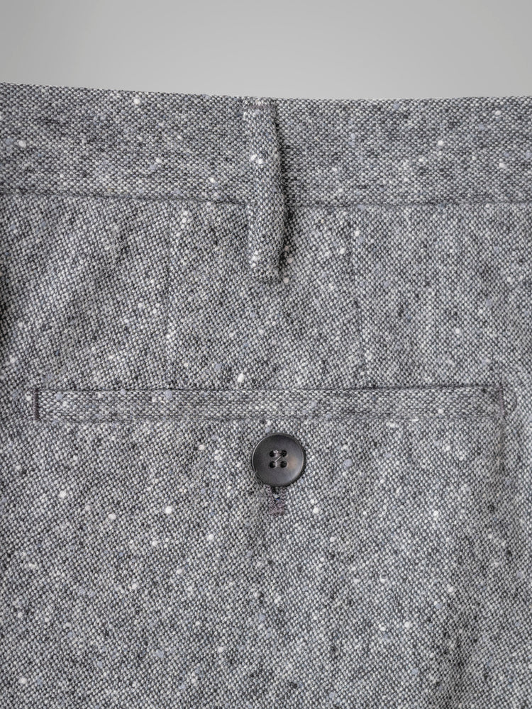 Grey pair of regular fit donegal wool trousers
