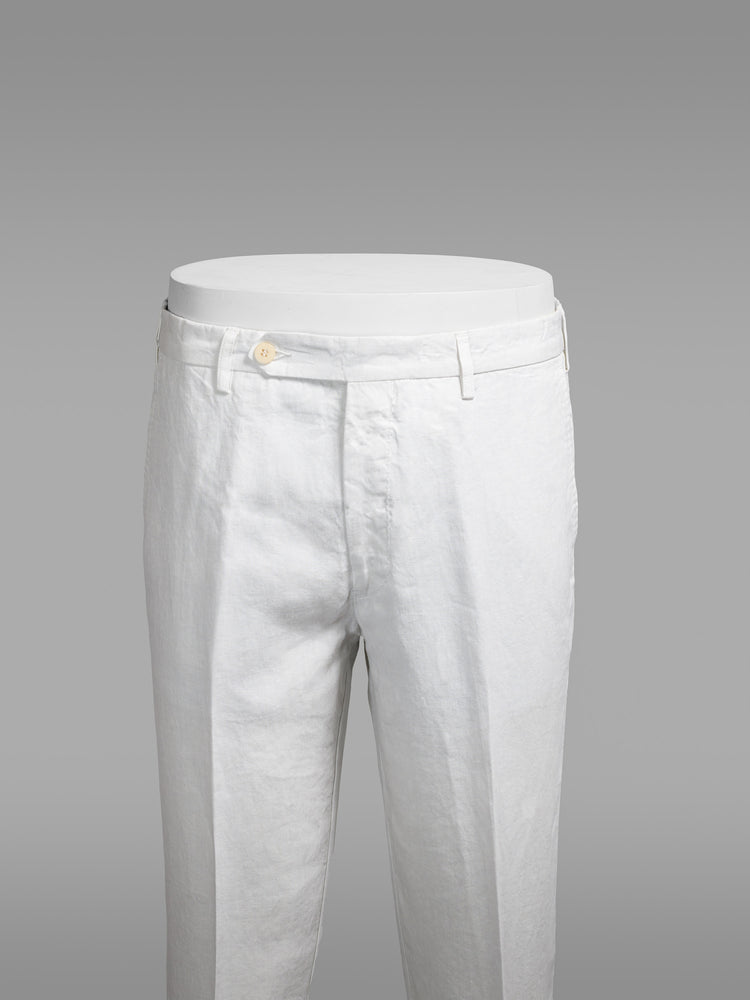Off white linen sport trousers