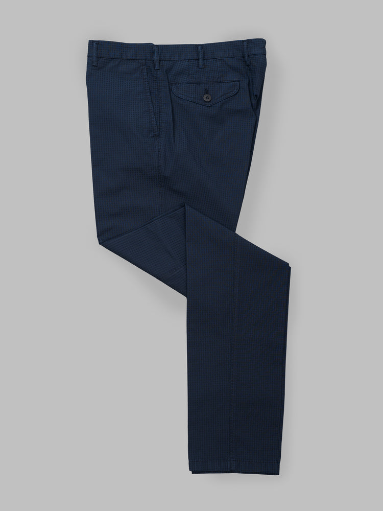 Dark blue seersucker cotton sport trousers