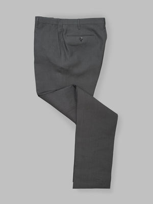 Dark grey pair of regular fit linen trousers