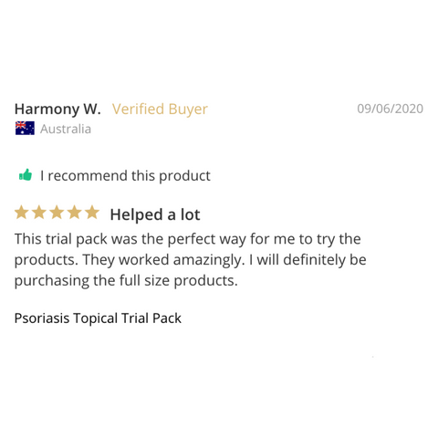 Psoriasis Topical Trial Pack review from a verified customer