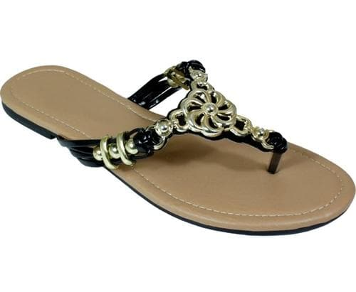 Metal Braided Floral Knot Bead Strap Thong Flat Sandal