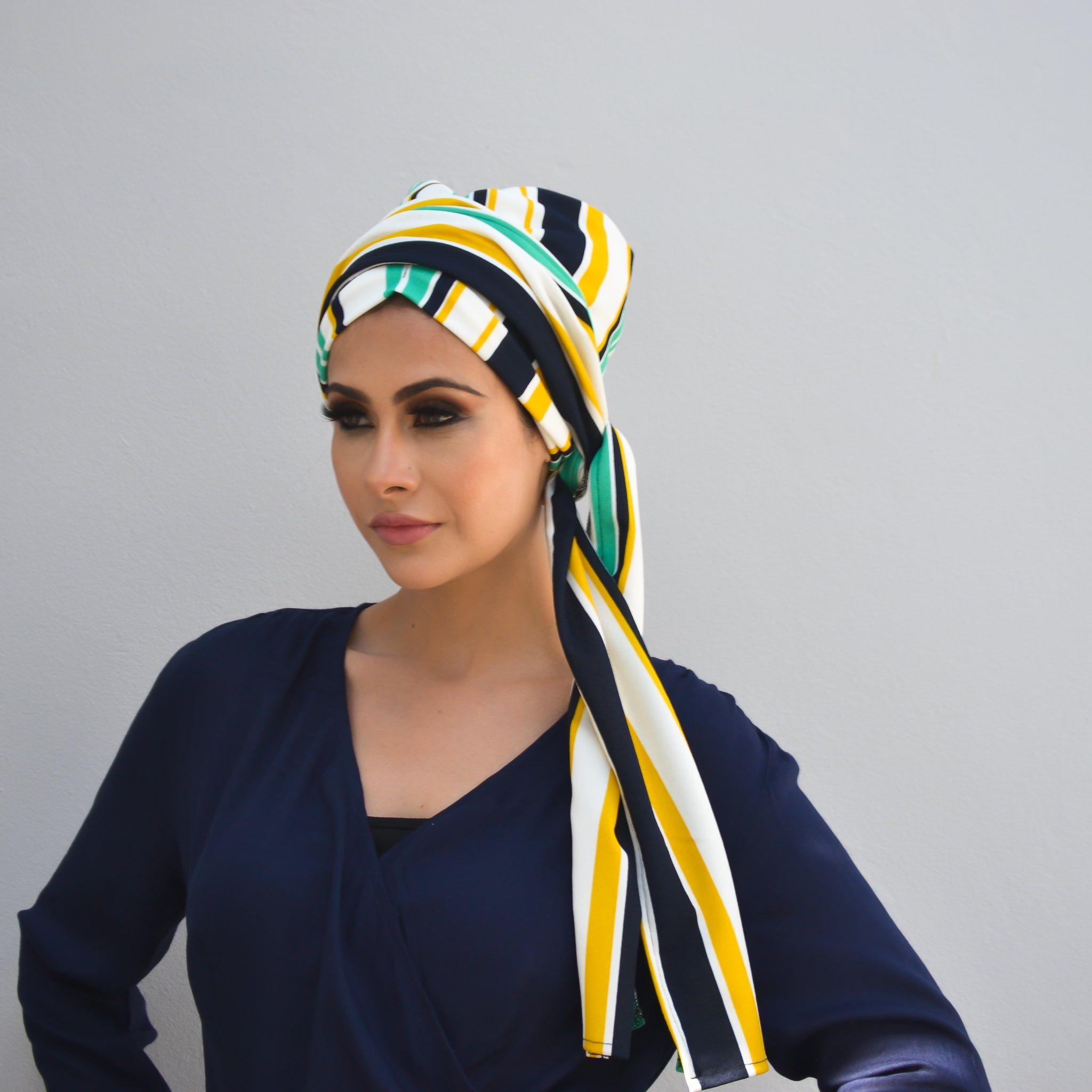 Printed Luxe Pull-on turban hijab with ties