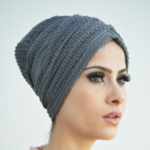 Bubble textured pull-on turban hijab with ties