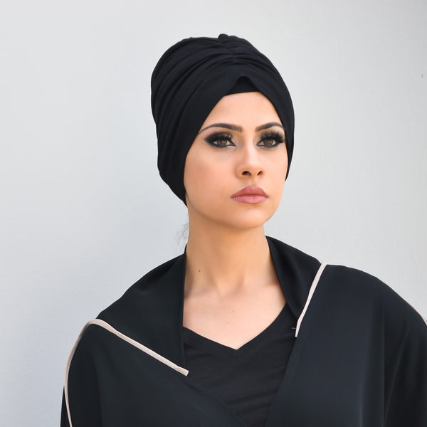 Solid Luxe pull-on ruched turban hijab