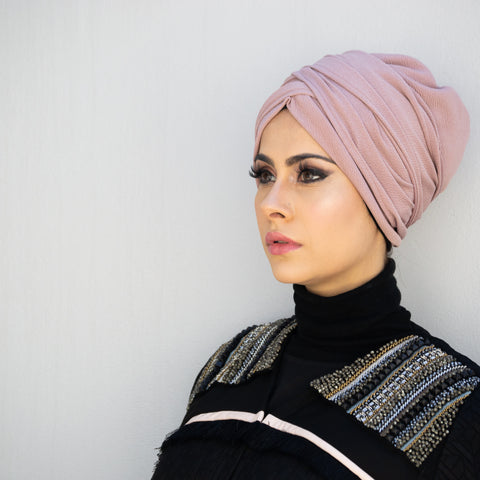 Stretch crepe pull-on turban hijab with ties