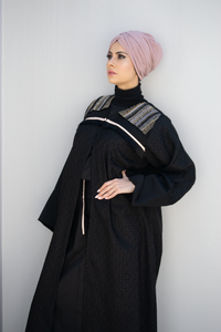 Ajmaan Eid 2019 Collection Black Dynasty Jacket Style Abaya