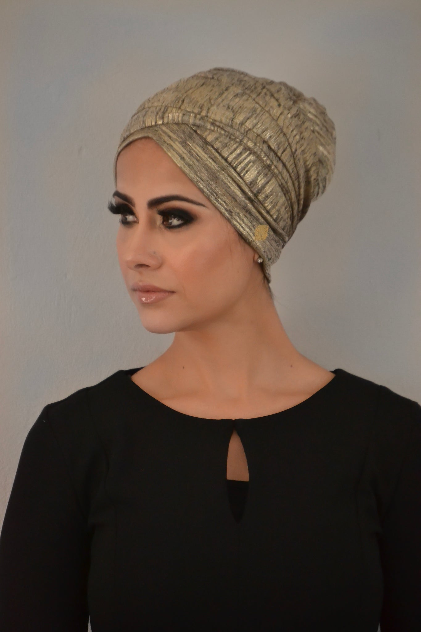 Jersey lamé metallic turban hijab with ties
