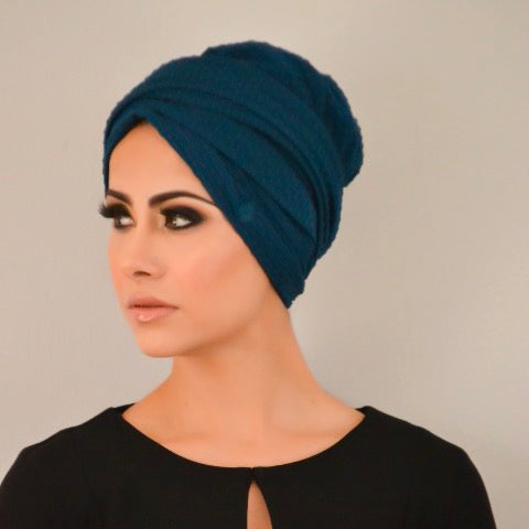 Bubble textured pull-on turban hijab