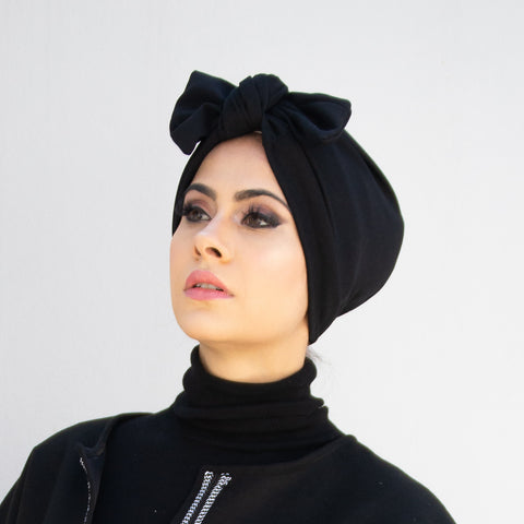 Solid Crepe 3-in-1 Pull-on bow Turban