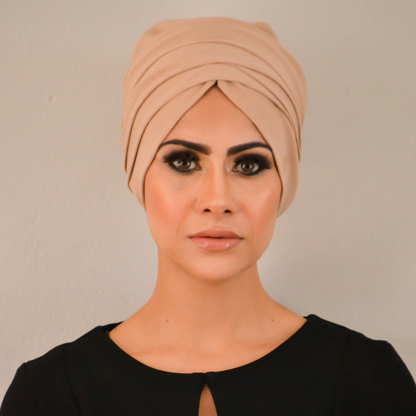 Solid Luxe Pull-on Turban hijab with ties