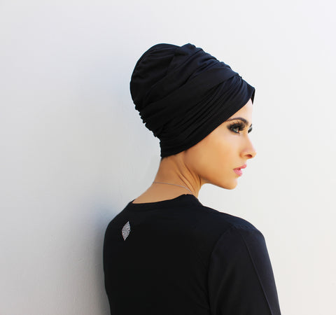 Extra-soft stretch pull-on turban hijab