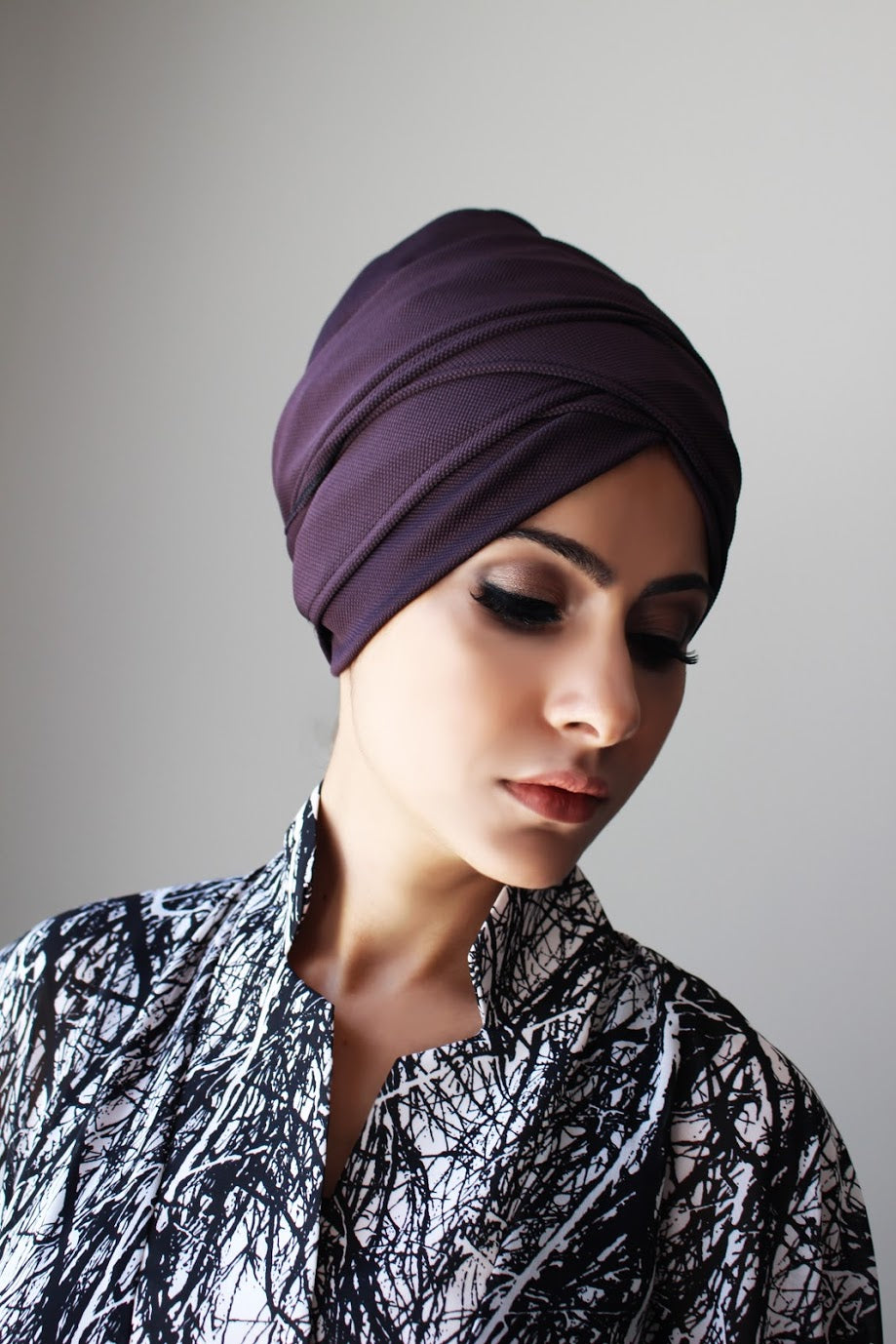 Stretch textured pull-on turban hijab with ties