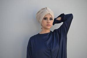 Pleated Chiffon pull-on Turban Hijab