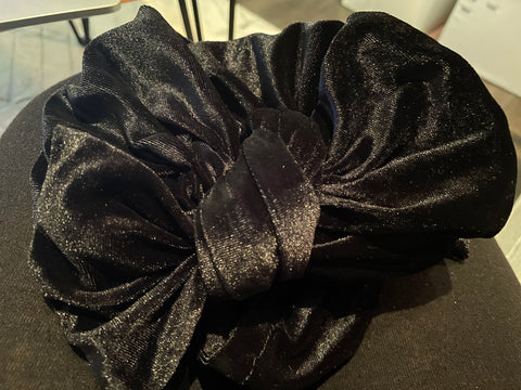 3-in-1 Velvet pull-on turban with bow