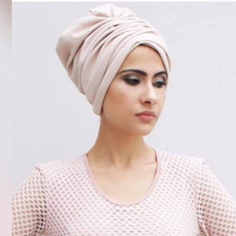 Solid Luxe pull-on large ruched turban hijab