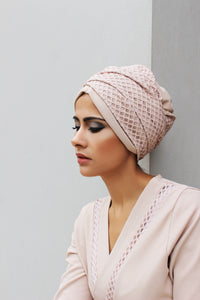 Laser cut and net pull-on turban hijab with ties
