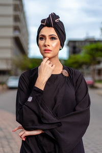 Solid 3-in-1 Pull-on bow Turban with piping detail