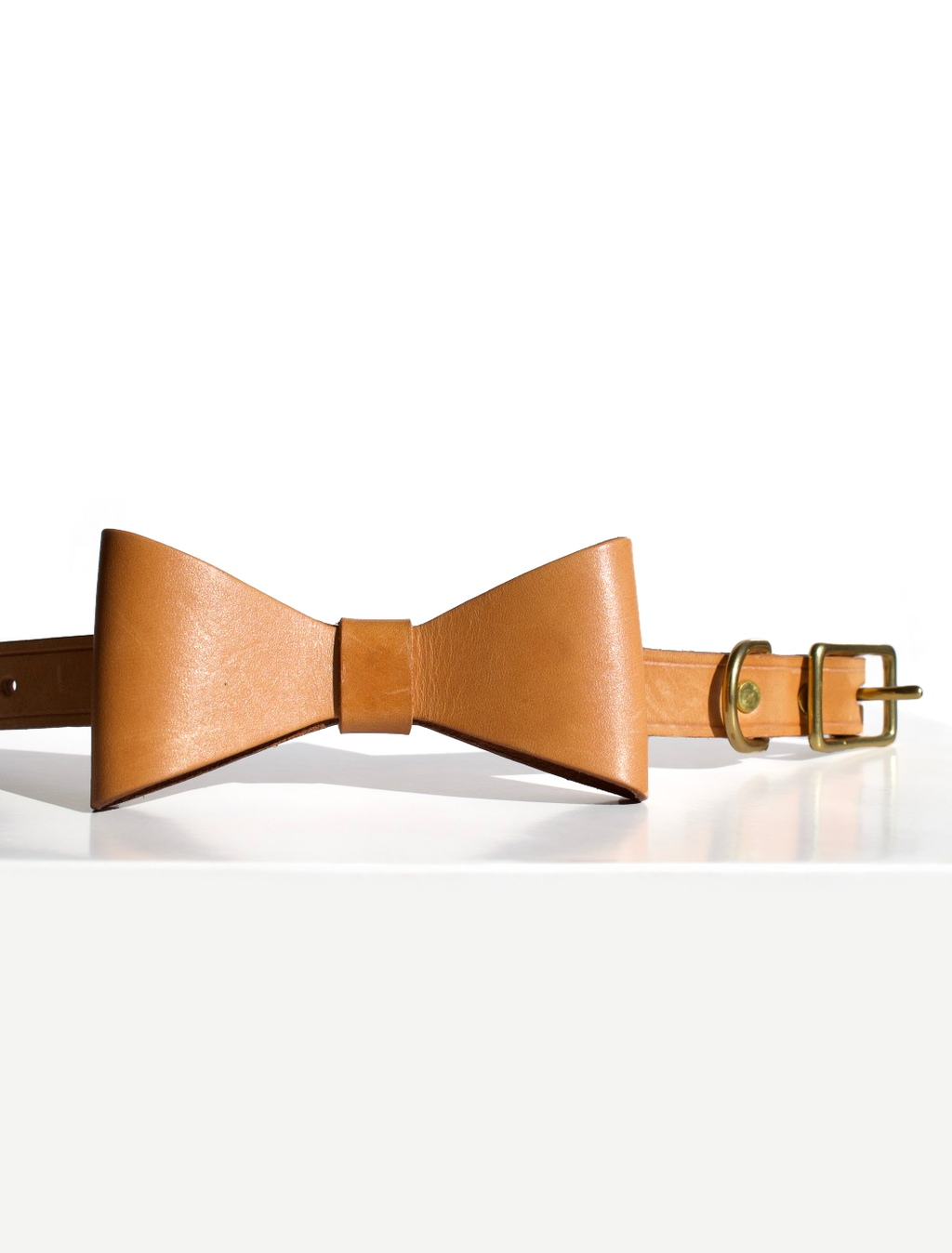 Leather Collar with Removable Bow - Camel