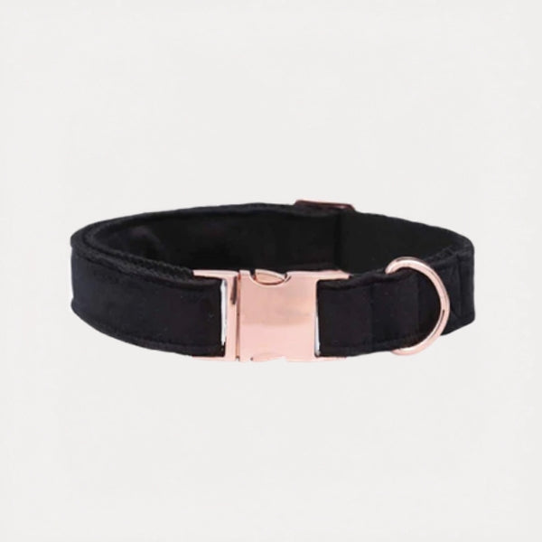 Midnight Black Velvet Dog Collar - FURRY BETCH