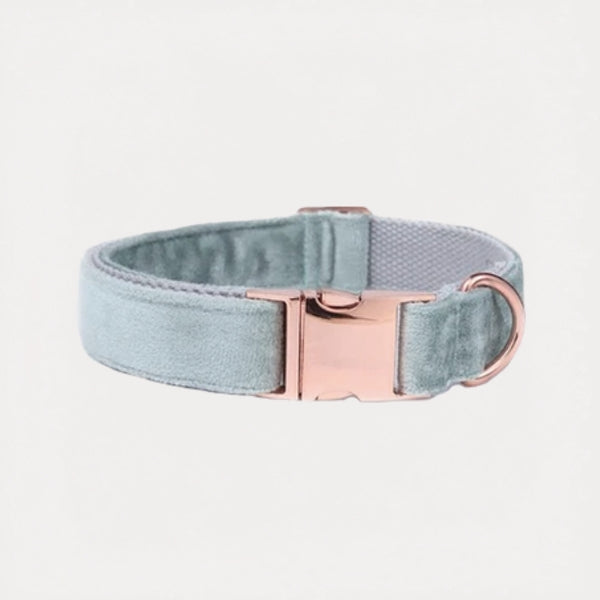 Sea Green Velvet Dog Collar - FURRY BETCH