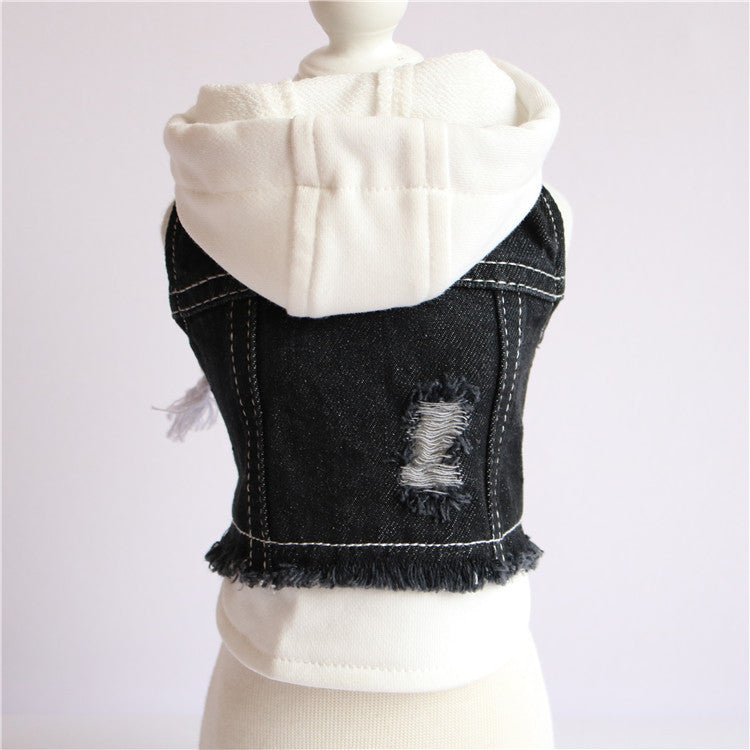 Tobee Hooded Denim Vest - FURRY BETCH