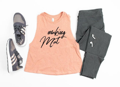 Making Mat Cheer Racerback Cropped Tank