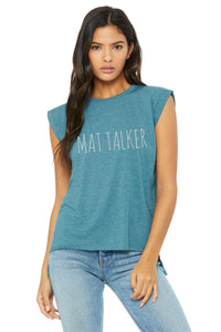 Mat Talker Cheer Flowy Muscle T-Shirt with Rolled Cuff