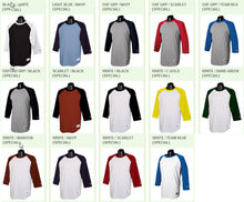 Load image into Gallery viewer, Custom Baseball Tee - 3/4 Sleeve Raglan