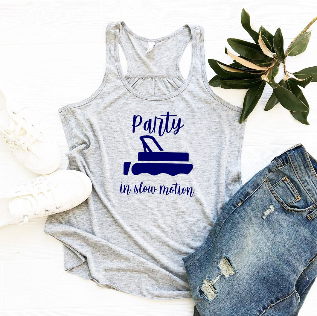 Party in Slow Motion Lake Living Ladies Flowy Tank