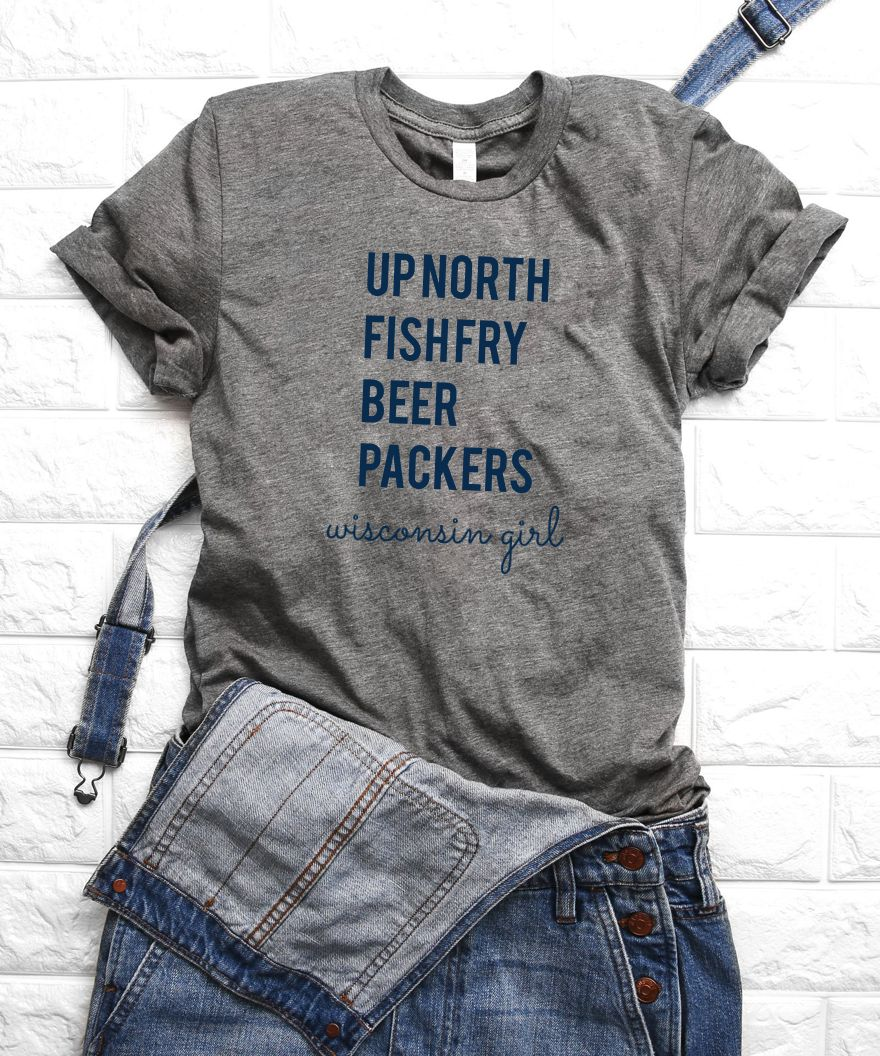 Up North Fish Fry Beer Packers Wisconsin Girl Triblend Shirt